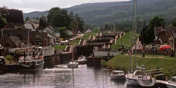 The Caledonian Canal Running Through The Centre Of Fort Augustus