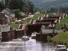 The Caledonian Canal in Fort Augustus from Loch Ness